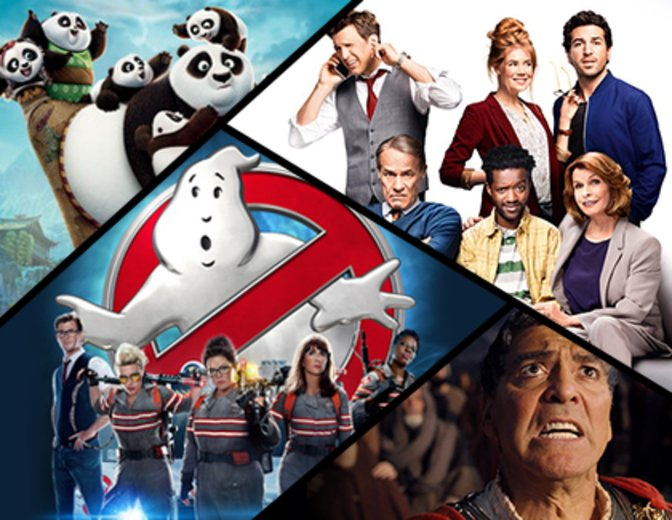 v.l.n.r.: Kung Fu Panda 3, Willkommen bei den Hartmanns, Ghostbusters, Hail, Caesar! © Dreamworks, Warner Bros., Columbia / Sony, Universal