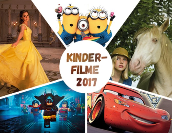 Im Uhrzeigersinn: Ich: Einfach unverbesserlich 3, Wendy - Der Film, Cars 3, The LEGO Batman Movie, Die Schöne und das Biest