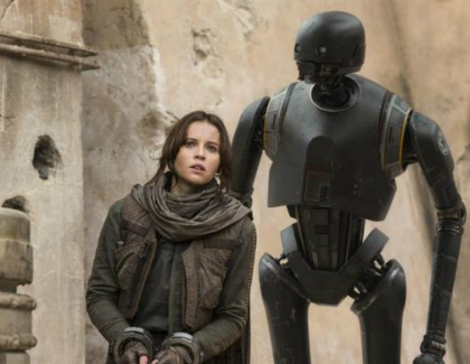 Rogue One Star Wars K-2SO Jyn Erso Felicity Jones Alan Tudyk