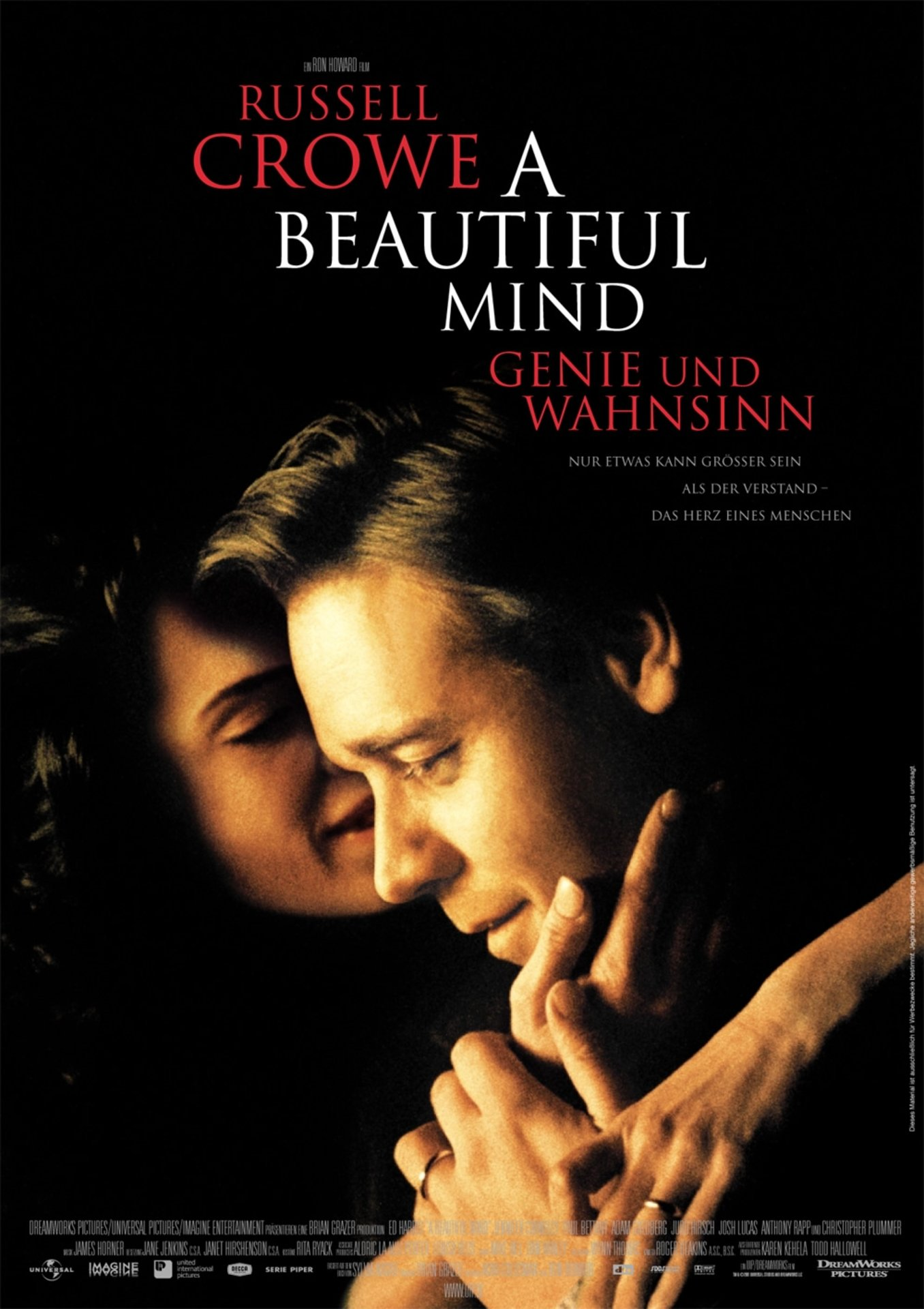 the movie a beautiful A beautiful mind is a 2001 american biographical drama film based on the life of john nash,  the movie ends as nash, alicia, and their son leave the auditorium in stockholm nash sees charles, marcee, and parcher standing to one side.