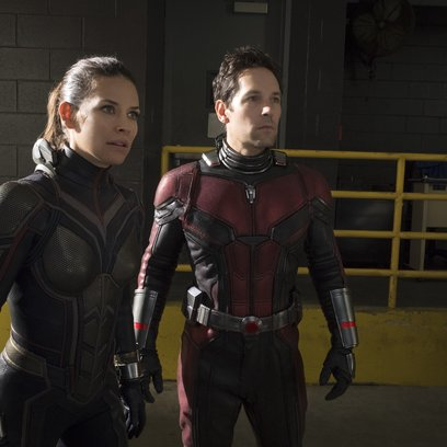 Marvel Studios ANT-MAN AND THE WASP  L to R: The Wasp/Hope van Dyne (Evangeline Lilly) and Ant-Man/Scott Lang (Paul Rudd)   Photo: Ben Rothstein  ©Marvel Studios 2018 Poster