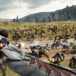 Marvel Studios' AVENGERS: INFINITY WAR  Falcon (Anthony Mackie) flying over Wakanda battlefield  Photo: Film Frame  ©Marvel Studios 2018 Poster