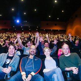 """Das """"Stromberg""""-Team im CineStar Leipzig / Christoph Maria Herbst gemeinsam mit Autor Ralf Husmann, Regisseur Arne Feldhusen und Darstellerin Milena Dreißig Poster"""