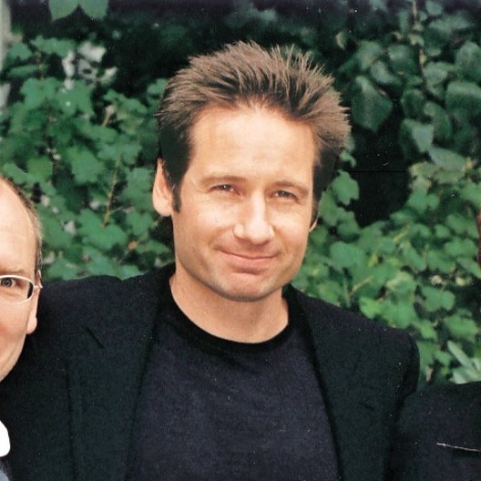 Akte X - Der Film (Promotiontour) / Peter Schulze (Presse Fox, Berlin) / David Duchovny / Eva Conradi (Head of Publicity Fox)