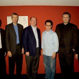 """Paramount Pictures empfangen Regisseur J.J. Abrams zu einer Präsentation von """"Star Trek"""" / Sven Sturm, Andrew Cripps, Rob Moore, J.J. Abrams, Florian Ritter und Markus Raab Poster"""