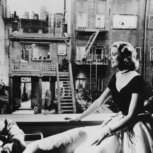 Fenster zum Hof, Das / James Stewart / Grace Kelly / Alfred Hitchcock bei den Dreharbeiten / Das Fenster zum Hof