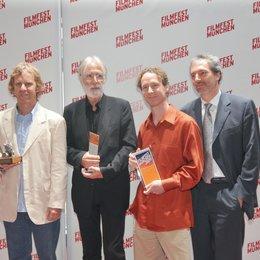 27. Filmfest München / Die Preisträger: Marcelo Lavintman (Arri-Zeiss-Preis), Michael Haneke (CineMerit Award), Frazer Bradshaw (CineVision Award) und Andreas Ströhl Poster