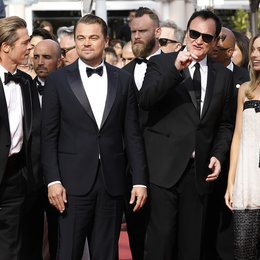 "Once Upon a Time in... Hollywood / Brad Pitt, Leonardo DiCaprio, Quentin Tarantino and Margot Robbie at the premiere red carpet for ""Once Upon A Time In Hollywood"" during the 72nd Cannes Film Festival at the Palais des Festivals on May 21, 2019 in Ca Poster"