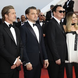"Once Upon a Time in... Hollywood / Margot Robbie, Quentin Tarantino, Leonardo DiCaprio and Brad Pitt at the premiere red carpet for ""Once Upon A Time In Hollywood"" during the 72nd Cannes Film Festival at the Palais des Festivals on May 21, 2019 in Ca Poster"