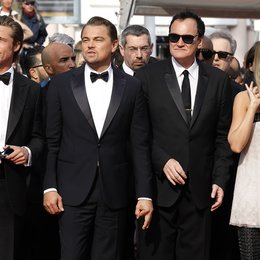 "Once Upon a Time in... Hollywood / Shannon McIntosh, Brad Pitt, Leonardo DiCaprio, Quentin Tarantino and Margot Robbie at the premiere red carpet for ""Once Upon A Time In Hollywood"" during the 72nd Cannes Film Festival at the Palais des Festivals on Poster"
