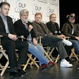 "Doug Darrow (Business Manager DLP Cinema) / George Lucas / Robert Zemeckis / Randal Kleiser / Robert Rodriguez / James Cameron / ""3D:New Dimensions In Digital Cinema"" / 31. ShoWest Awards 2005 in Las Vegas Poster"