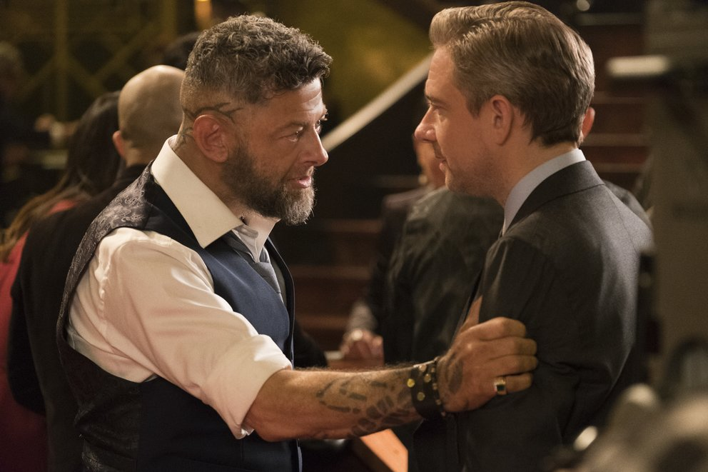 "Andy Serkis als Ulysses Klaue und Martin Freeman als Everett K. Ross in dem Marvel-Blockbuster ""Black Panther"" © Disney"