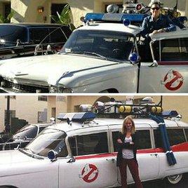 """Neue """"Ghostbusters"""" posieren vor Kultauto"""