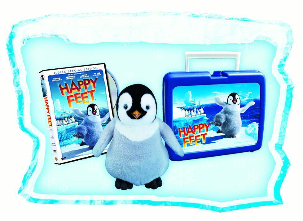 Happy Feet Frühstücksbox (+ Plüschpinguin, 2 DVDs) Poster