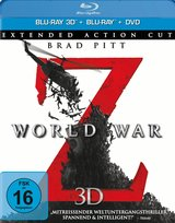 World War Z (Blu-ray 3D, + Blu-ray 2D, + DVD, Extended Action Cut) Poster