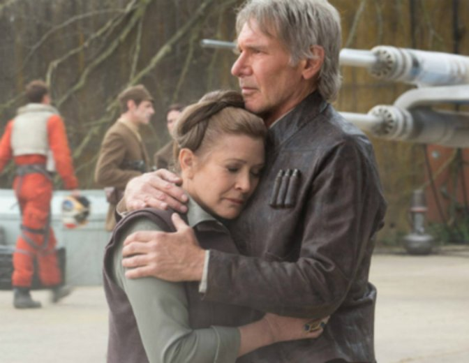 Star Wars 7 Leia Han Solo Carrie Fisher Harrison Ford