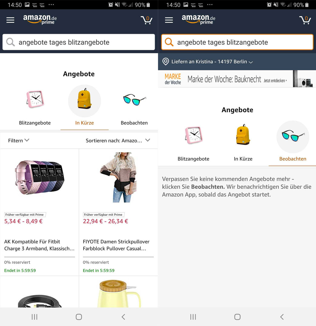 Amazon Blitzangebote Benachrichtigung